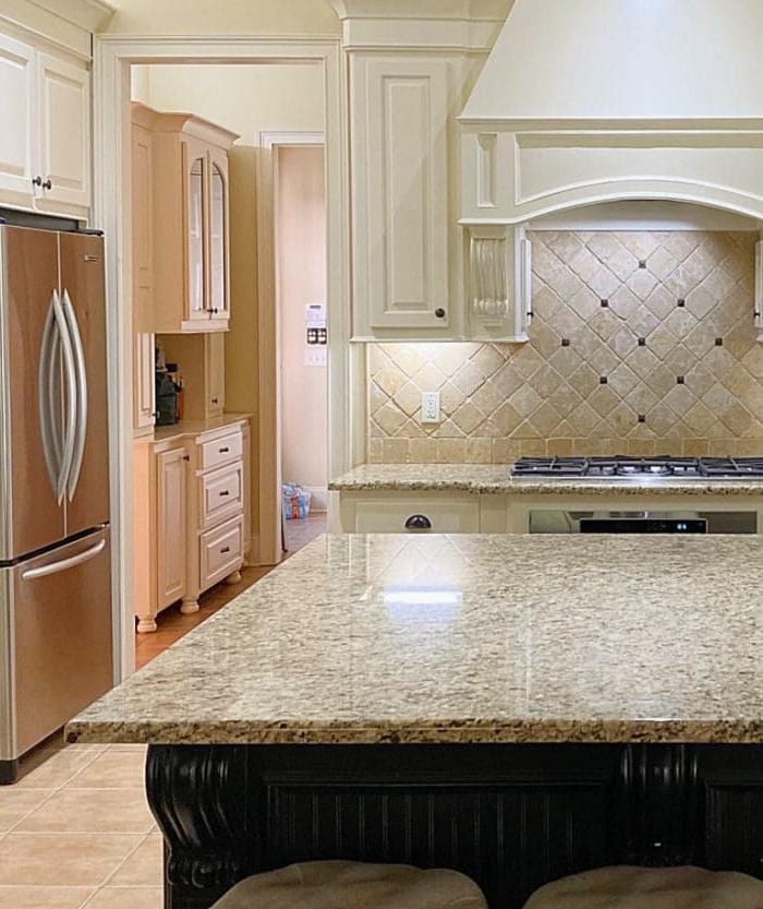 kitchen before with travertine