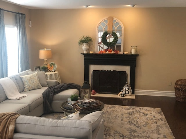 Living room before with fireplace and sectional (5)