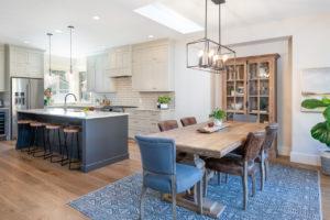 Benjamin Moore Revere Pewter kitchen cabinets, warm gray. Urbane Bronze Sherwin Williams island, white oak floor. Open concept. Kylie M Interiors edesign