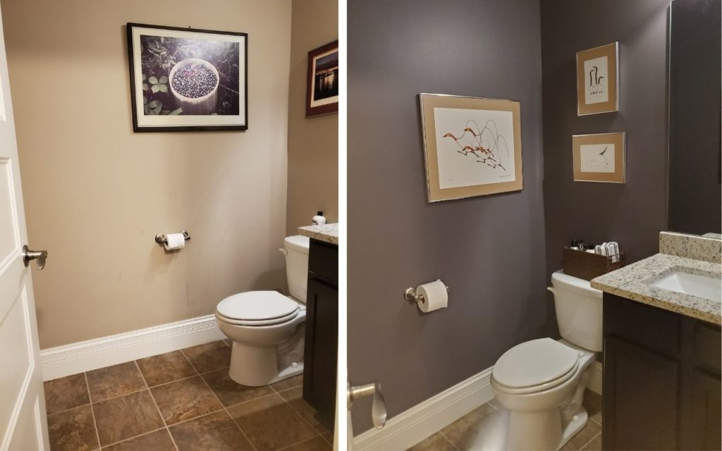 Small bathroom beige tile and granite countertop. Paint colour Sherwin Williams Gauntlet Gray, Kylie M Interiors Edesign