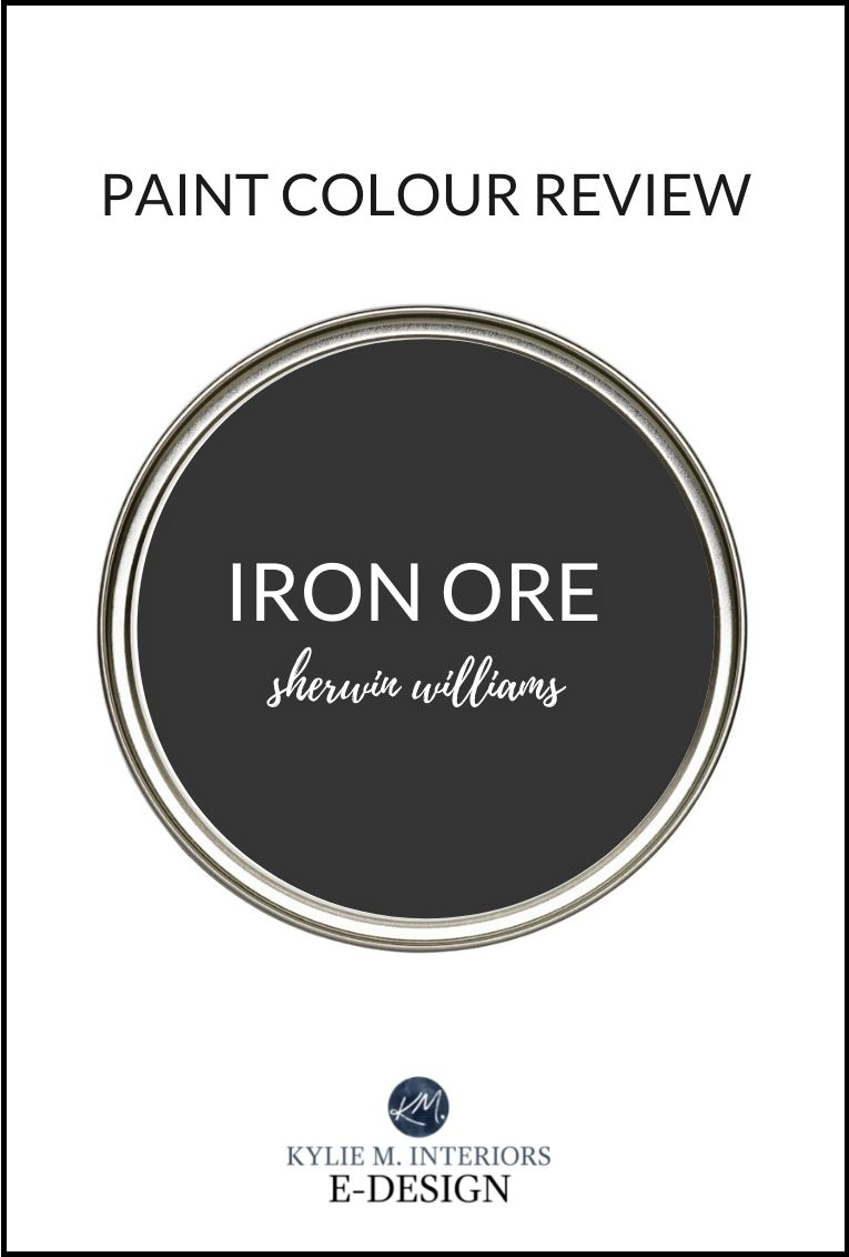 Paint review of Sherwin Williams Iron Ore, soft black paint colour, best for exteriors, trim, feature walls, cabinets, front doors and more. Kylie M Interiors Edesign.