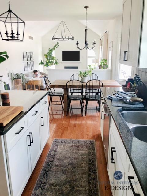 Sherwin Williams Alabaster, best warm white paint colour. Open layout kitchen, living room, dining, kitchen, dark black granite countertop. Kylie M Int