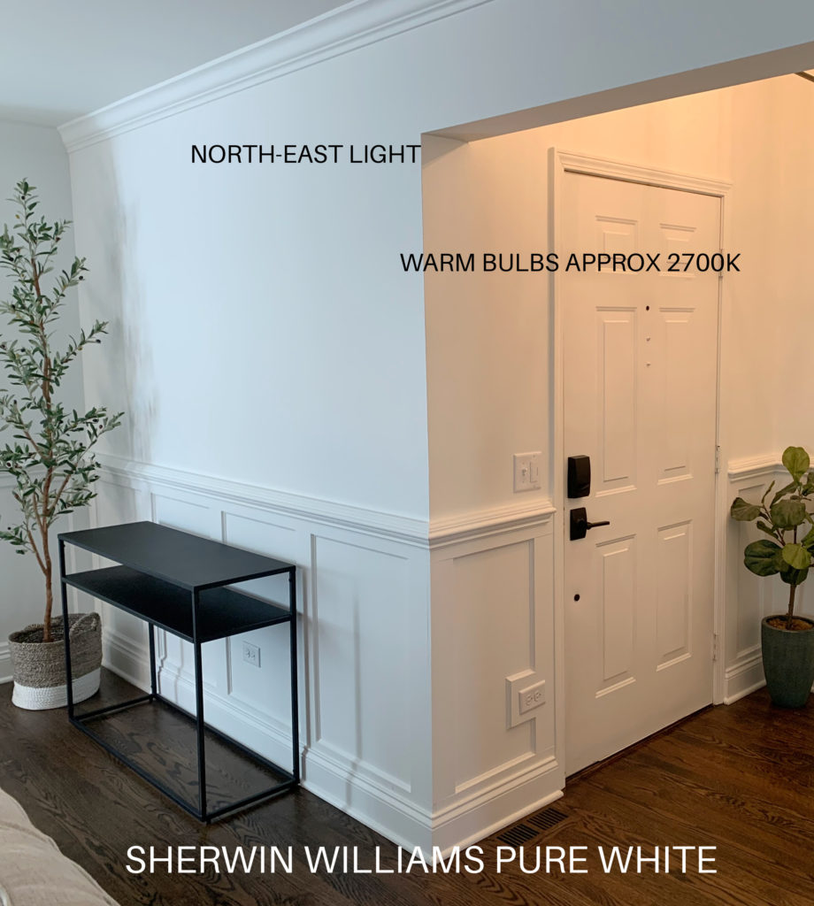 Sherwin Williams PUre White with north east exposure and 2700k warm light bulbs in foyer and living room. Kylie M Interiors Edesign, diy ideas